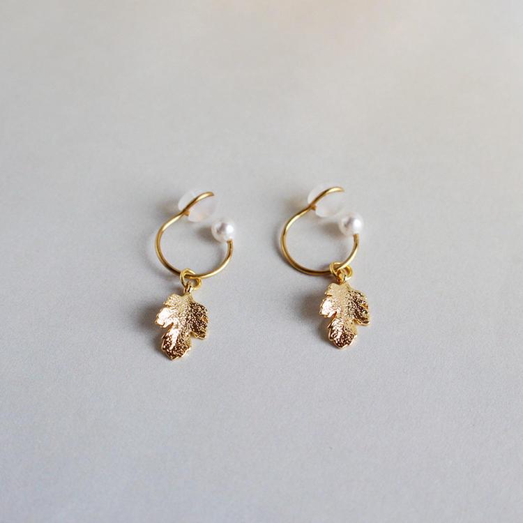 Ladies Vintage Pearl & Leaf Gold-Plated Copper Earrings - Bohemian Jewelry