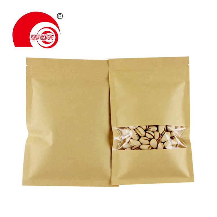 matt window type brown kraft paper bag aluminum foil inside zip lock stand up pouches for date nuts snacks packaging