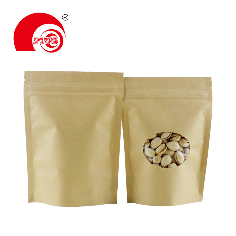 Kraft paper packaging stand up pouches zip lock bag with window for snack packaging