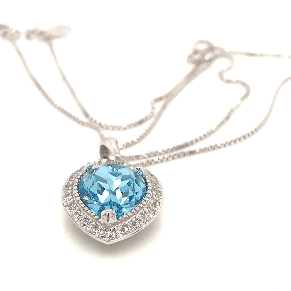 Birth Month Gemstone Necklace, Heart Necklace Silver 925 Sterling