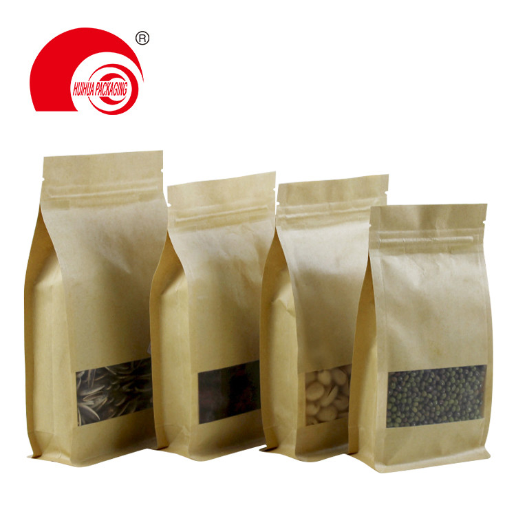 Eight edges sealing stand up Kraft Paper Pouch packaging bag Reusable Sealing All-Purpose Food Storage Bags