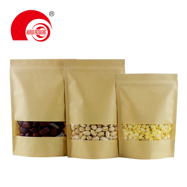 Biodegradable dried fruit nuts packaging stand up kraft paper bag red rice pouch with window