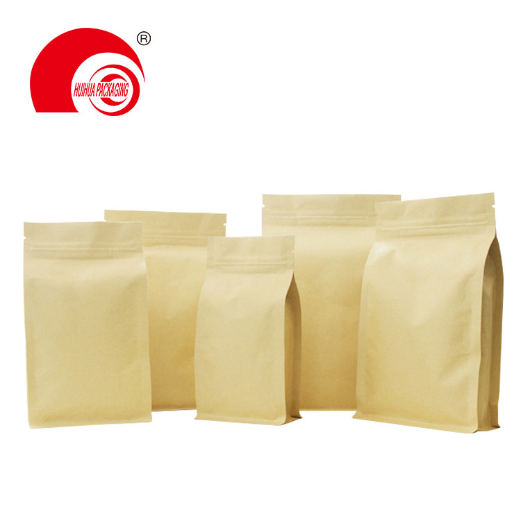 Custom Biodegradable Kraft Paper Coffee Bean Pouch Flat Bottom Packaging Bags With Valve