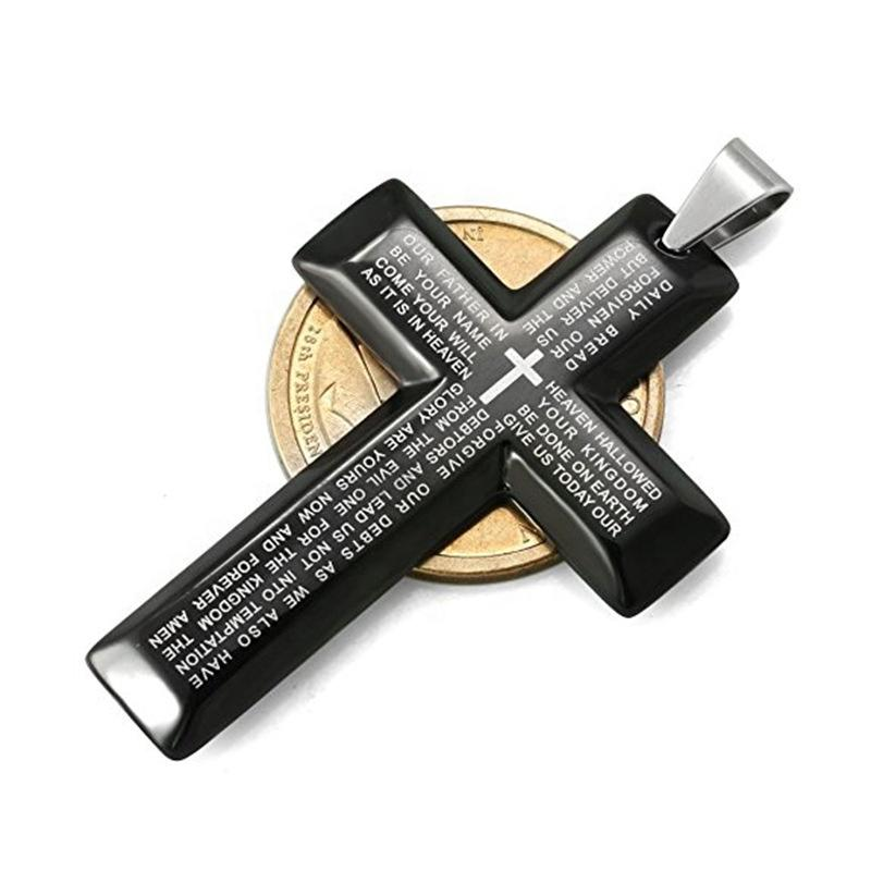 Fashion stainless steel letter engraved bible cross jewelry pendant necklace