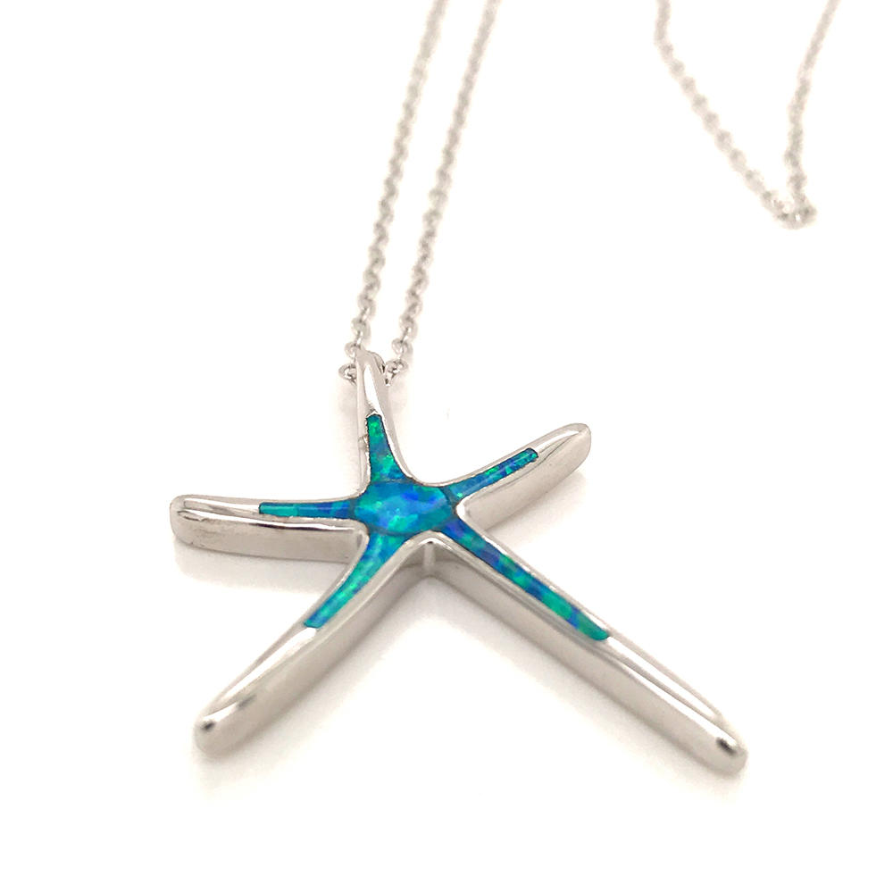 Boho Female Big Sea Star Pendants Necklaces, 925 Sterling Silver Wedding Necklaces For Women