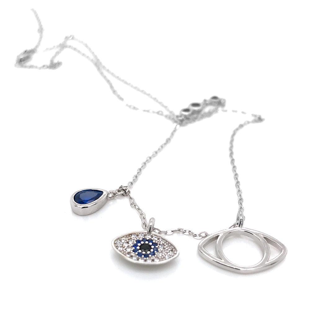 Hot Selling Hollow Design Blue Cz Evil Eyes Necklace 925 Sterling Silver