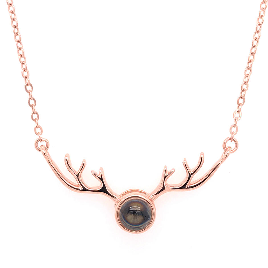 Antler Shape I Love You 100 Language Projection Silver Necklace For Women