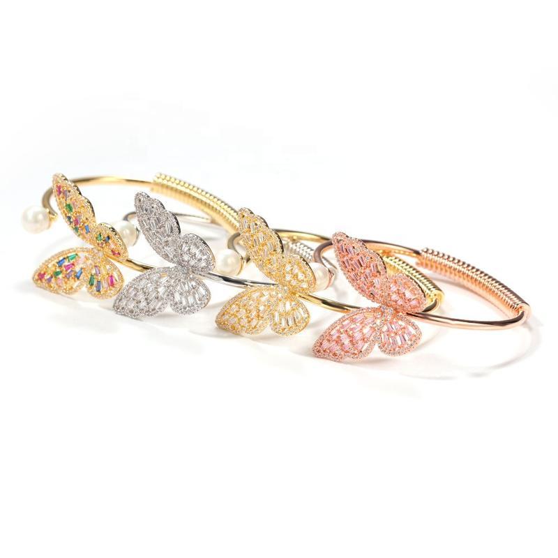Fashion Cz Ladies Butterfly Slave Bracelet, Open Butterfly Bracelet