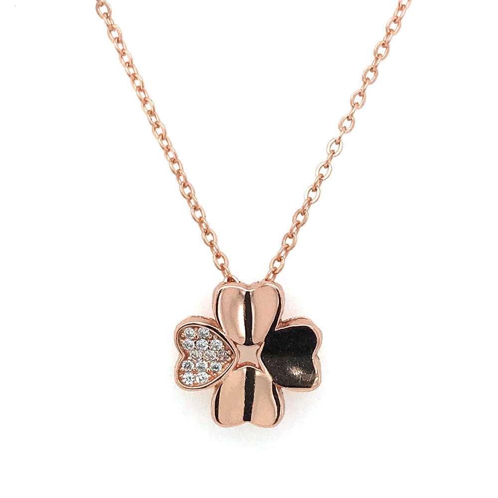 925 Sterling Silver Four Leaf Clover Chain Necklace Gold Plated
