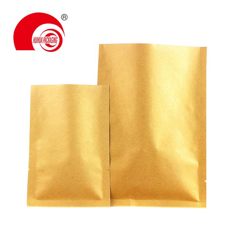 Customized Kraft Paper Flexible Moisture Barrier Metallized Flat Pouch Vacuum Salt Coarse Packaging Bags