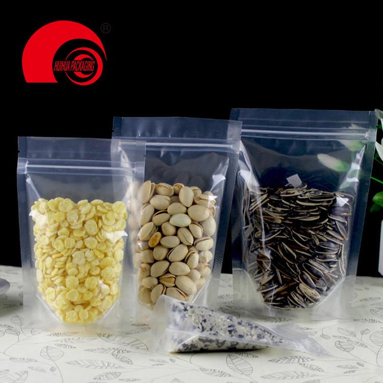 Eco-friendly zip lock plastic bag customised food packaging transparent pe zipper bag