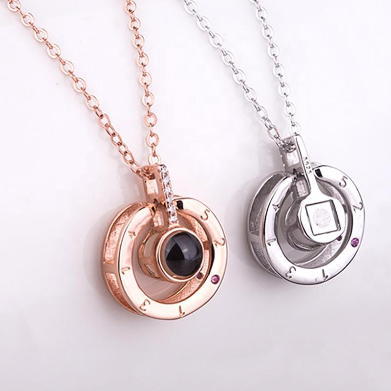 Round Eye Shape I Love You In 100 Languages Projection Necklace