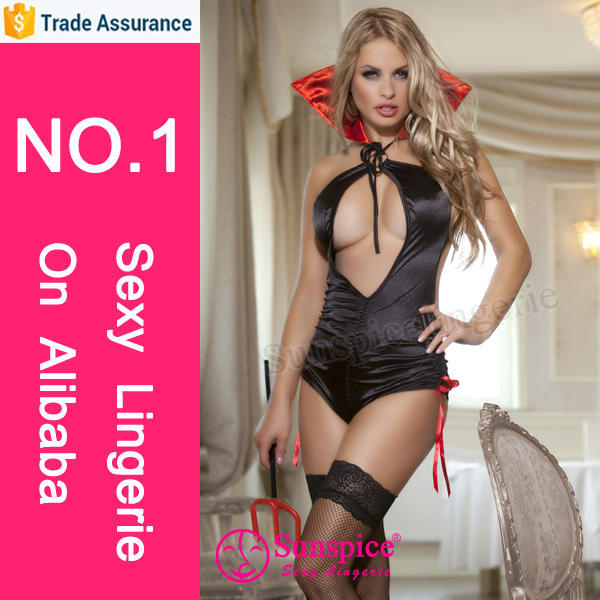 sunspice new design sexy ruffle satin black teddy costume lingerie vampire girls costume