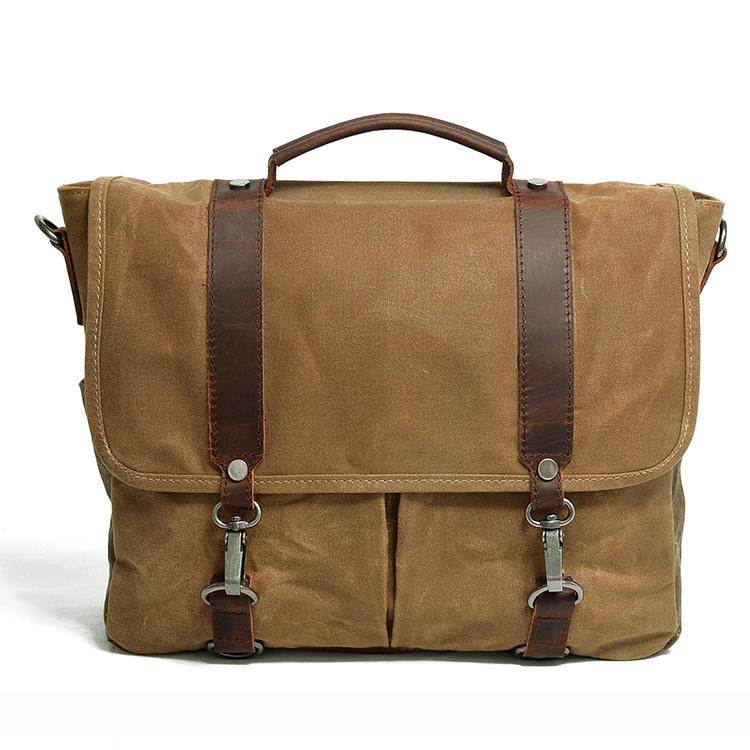 Hot Selling Vintage Leather Laptop Canvas Messenger Satchel Briefcase Bag