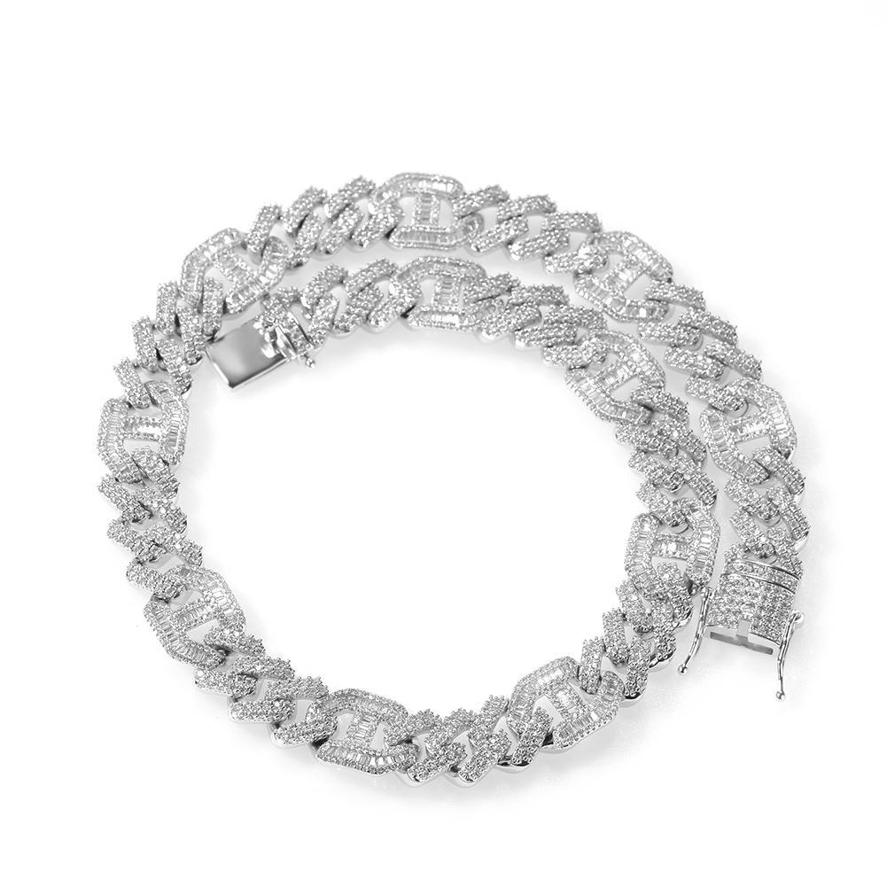 Full Pave Zircon Men's Hip Hop Necklace, AAA Zircon Irregular Chain Necklace