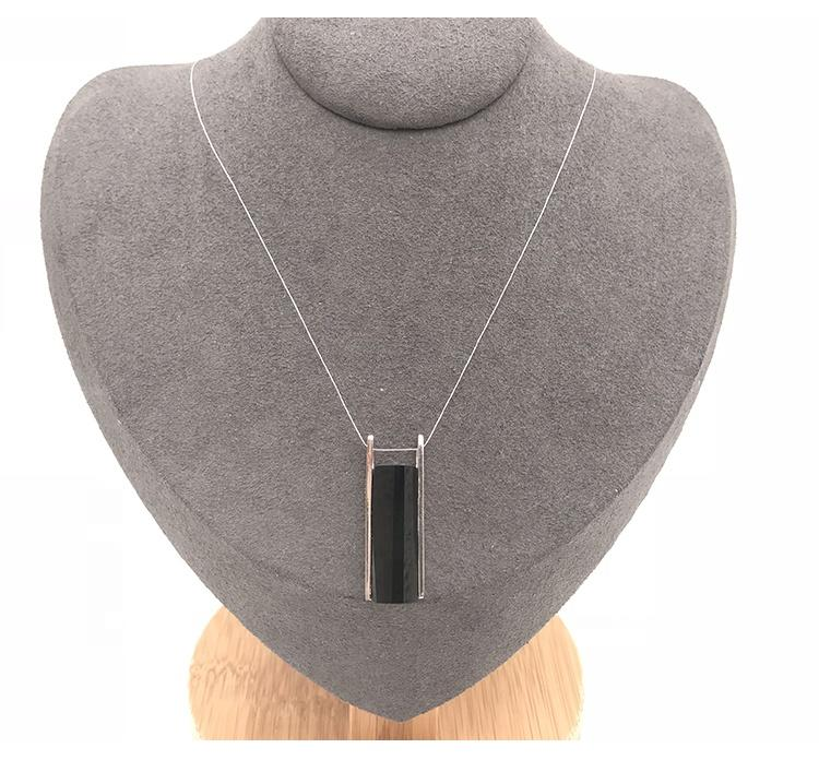 Minimalism Black Stone Silver Bohemian Necklace For Boys And Girls