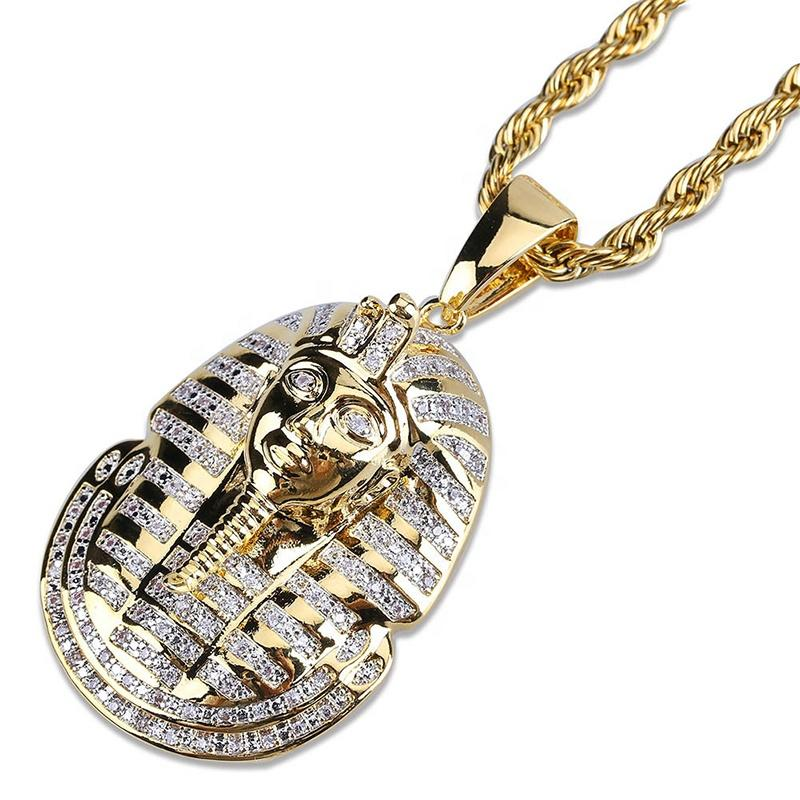Chic Engraved Handmade Gold Pharaoh Necklace Hiphop Jewelry