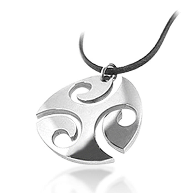 Eco-Friendly Carved Round Stainless Steel Tribal Pendant Necklaces