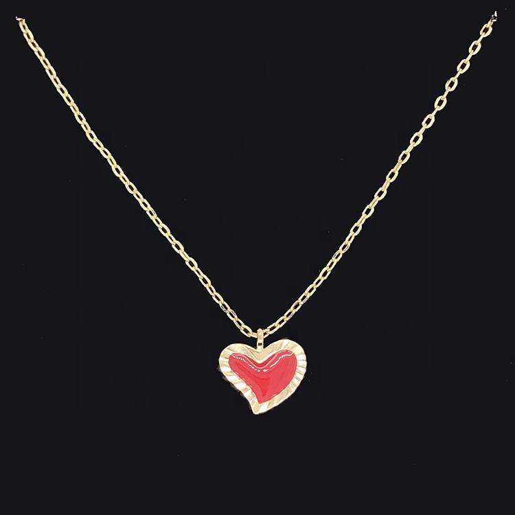Gold Plating Embroidery Frame Epoxy Red Heart Pendant Jewelry Necklace