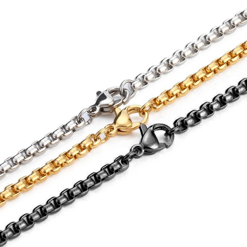 Never Fades Square Cross Chain, Interlocking Chain Jewelry Stainless Steel