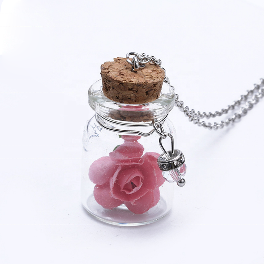 Women Custom Glass Bottle Pendant Jewelry Fashion Real Rose Necklace