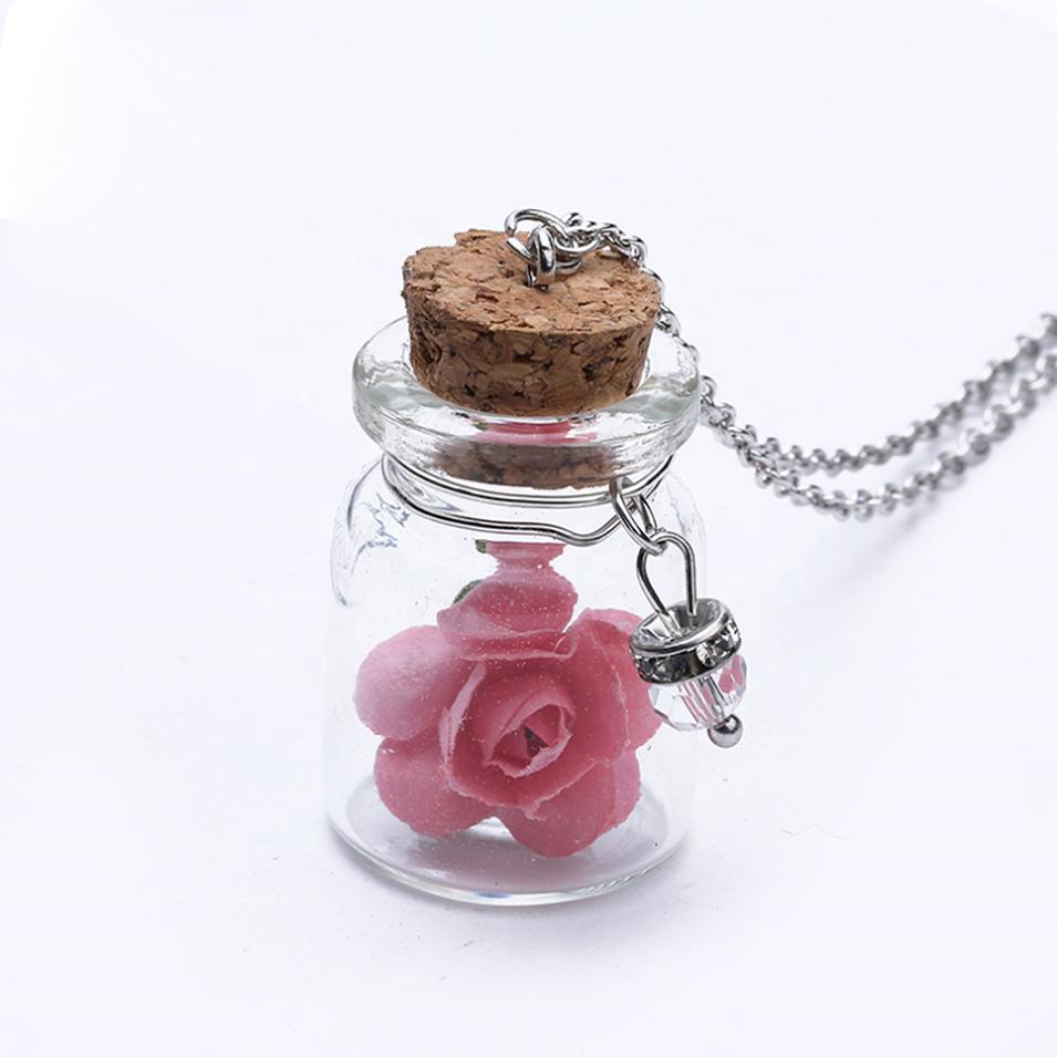 Women Custom Glass Bottle Pendant Jewelry Fashion Real Rose Necklace