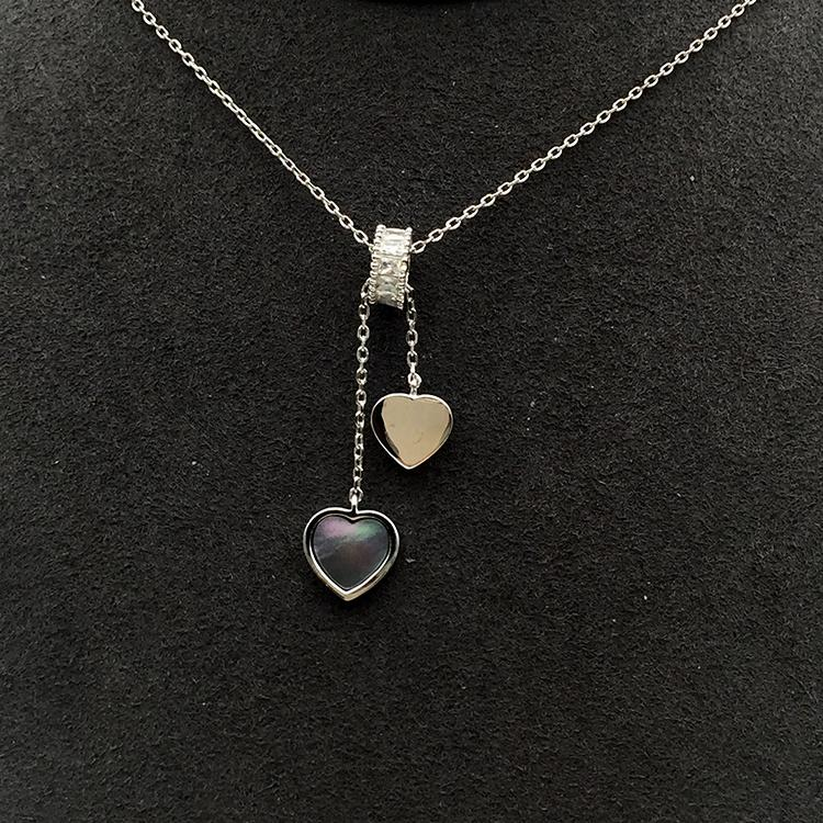 Stone Beads Slideable Two Shell Heart Design Silver Chain Necklace Jewelry