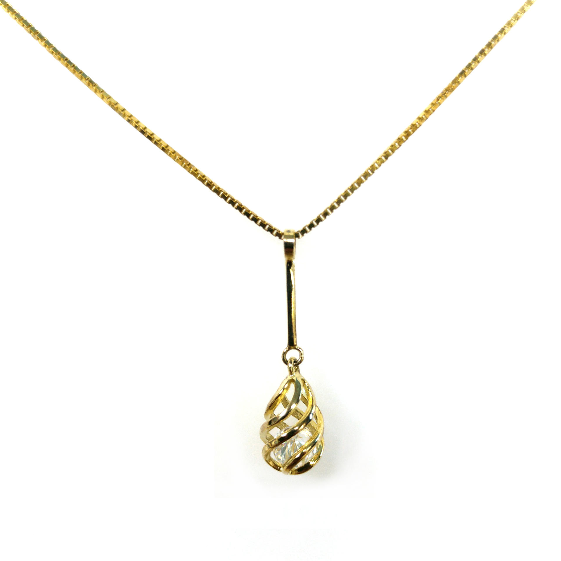 Delicate Gold Hollow Design Tracery Cz Cage Pendant Necklace For Women