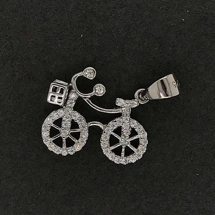 Bike Pendant With Zircon, Nice Quality Bike Charm Silver Jewelry, Shiny Cz Silver Bicycle Pendant Necklace