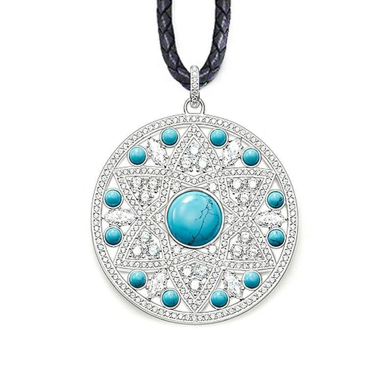 Fairy Beauty Fashion Blue Round 925 Silver Necklace Stone