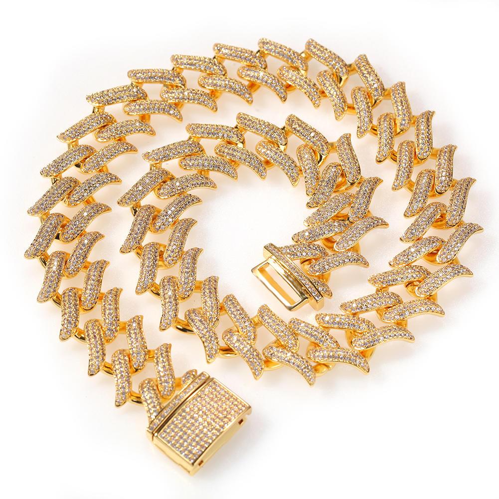 Hip Hop Thorn Cuban Necklace 20mm, Copper Punk Rock Pop Accessories