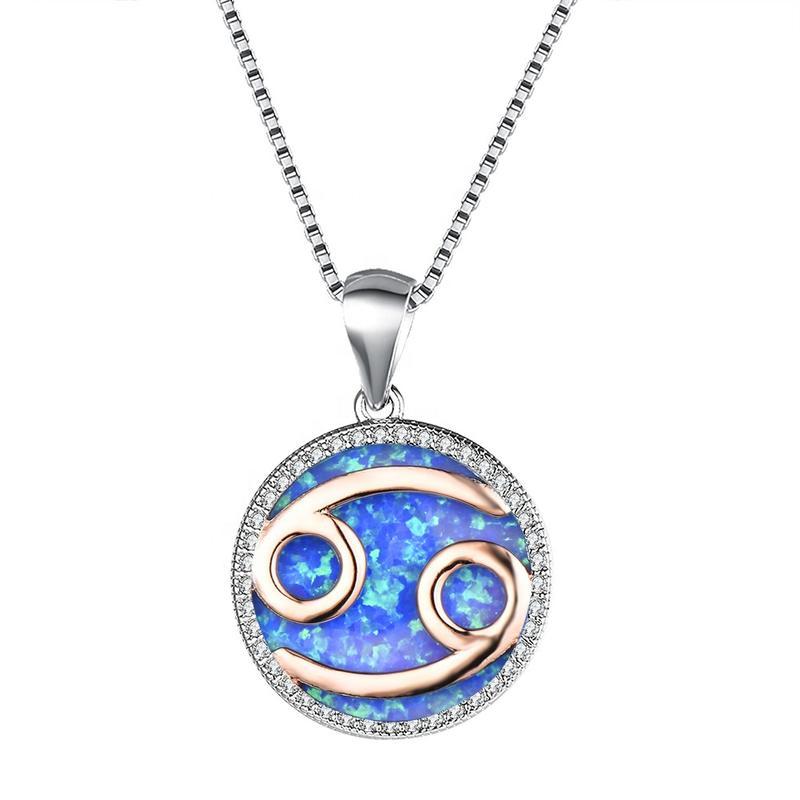 Beautiful Blue Opal Cancer Zodiac Brass Pendant Necklace