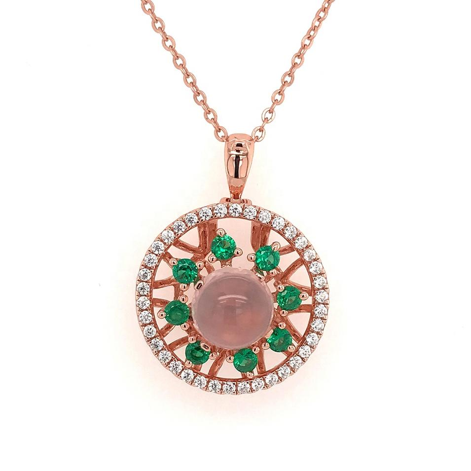 Personalized Convertible Necklace, Rose Gold Cz Flower Disk Necklace