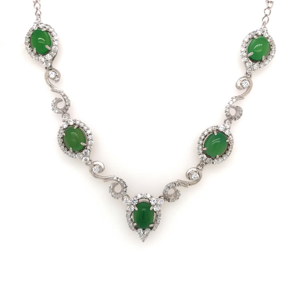 Delicate Silver Chain Emerald Stone Statement Necklace For Women