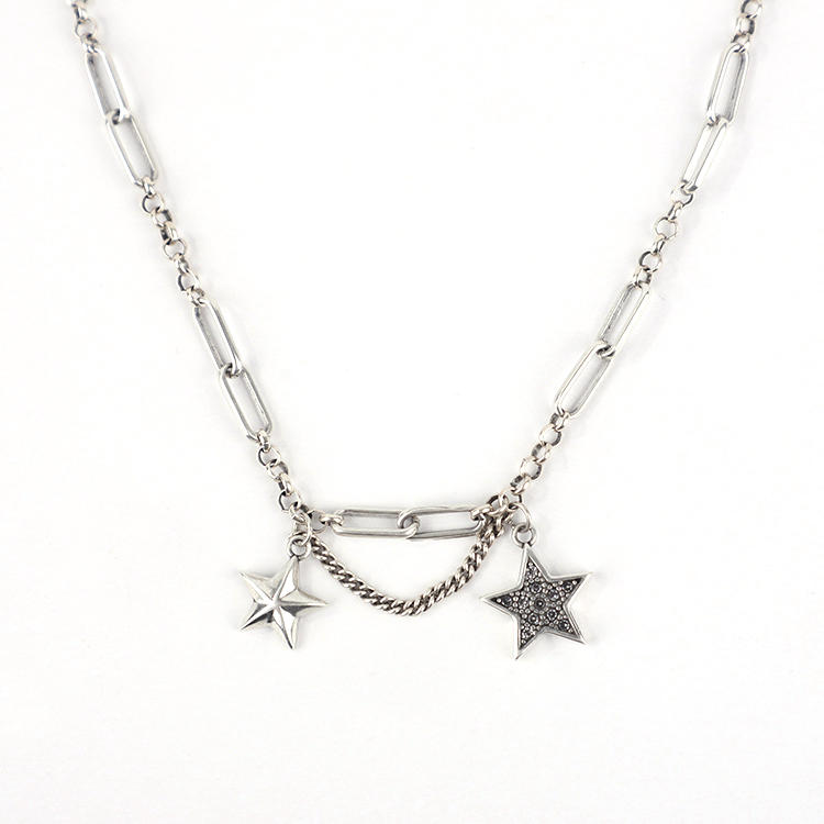 Pentagram Necklace Thai Silver Personality Chain Choker Female Marcasite Necklace