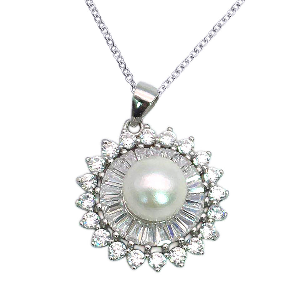 Sterling Silver Pearl Sunflower Jewelry, AAA CZ Sunflower Necklace