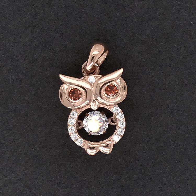 925 SterlingSilver Charm Owl Necklace Set, Crystal Nature Stone Owl Pendant Necklace, Locket Owl Necklace Diamond