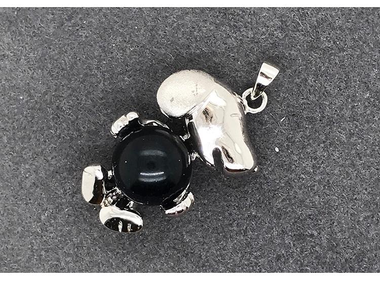 Black Onyx Silver Cartoon Dog Doll Necklace For Boys And Girls