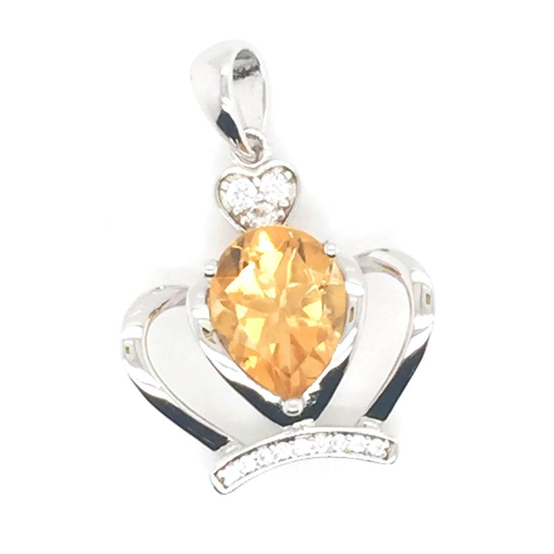 925 Sterling Silver King Crown Charm Pendant, Yellow Stone Crown Jewelry, Yellow Teardrop Topaz Pendant Crown Necklace