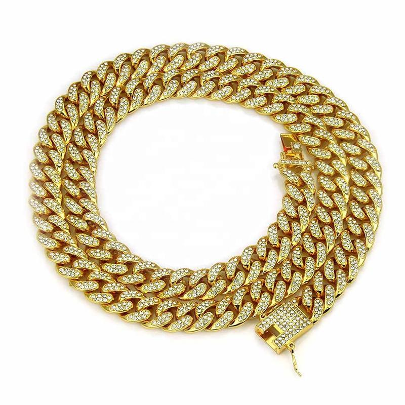 Ice Out Natural Stone Necklace Women Chain, Chunky 18Kgp Gold Chain Necklace