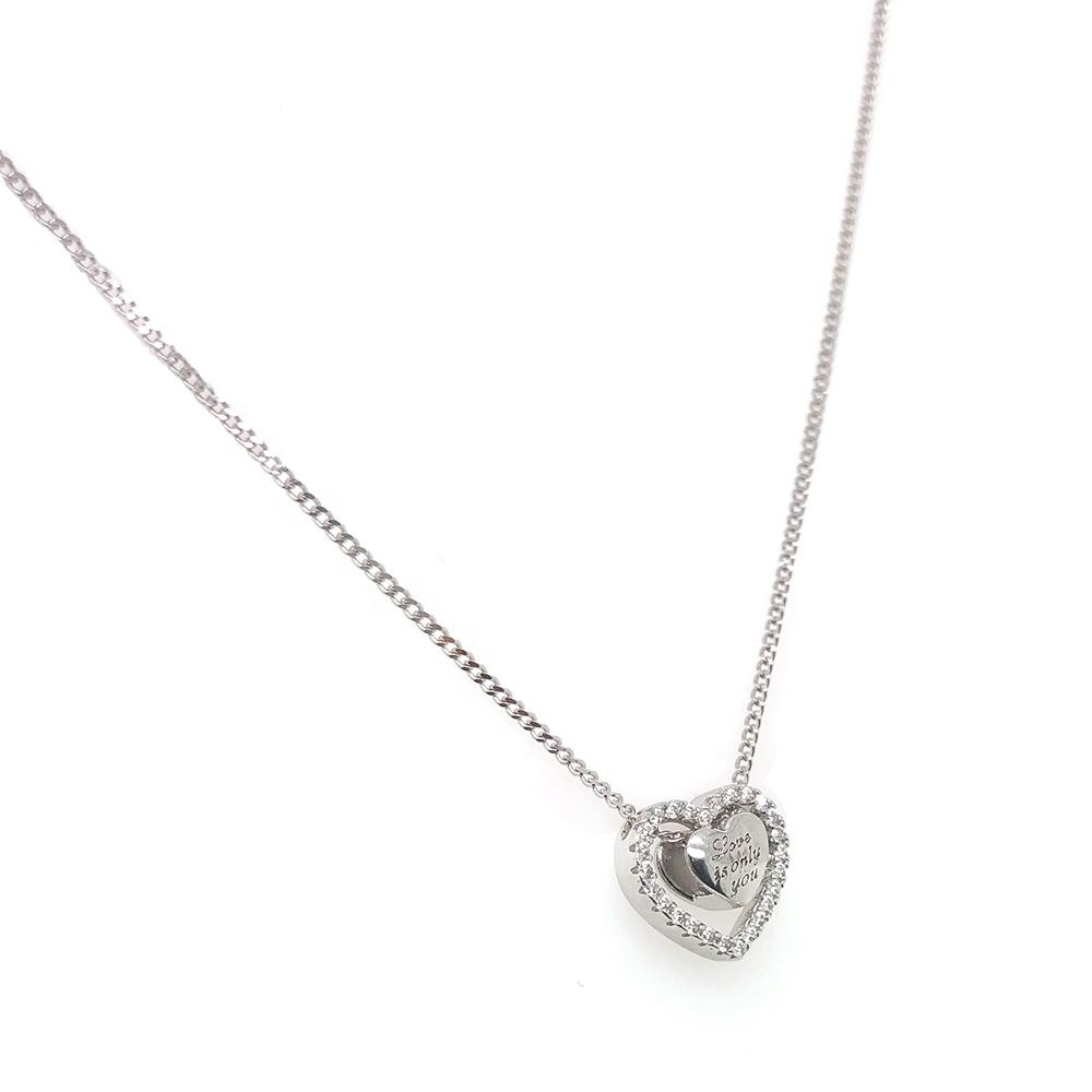 product-BEYALY-Love Is Only You Letter Engraved Heart In A Hollow Heart Design Necklace-img