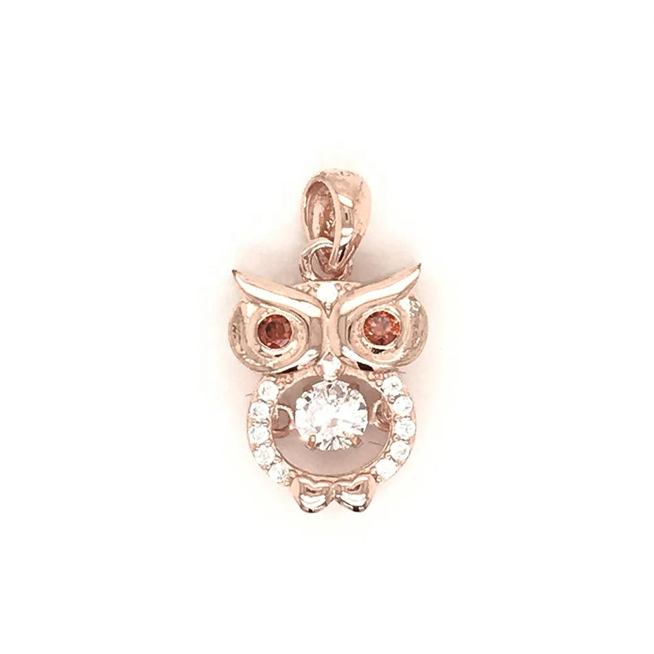 925 SterlingSilver Charm Owl Necklace Set, Crystal Nature Stone Owl Pendant Necklace, Locket Owl Necklace Diamond