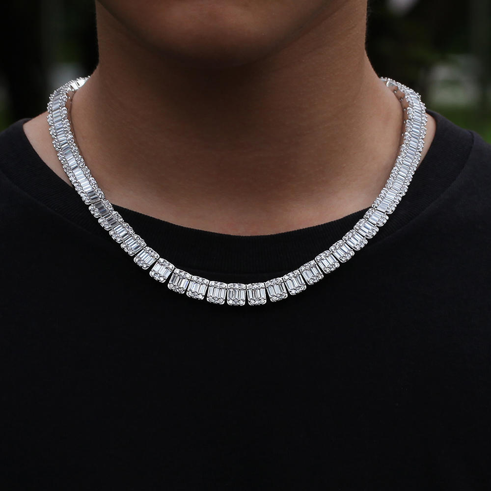 New Stainless Steel Square Zircon Hip Hop Tennis Cuban Link Chain Necklace