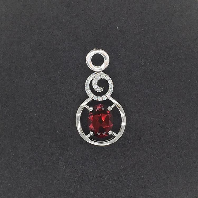 Red Coral Necklace, Red Tourmaline Necklace, Swirled Charm Red Stone Silver Circle Necklace