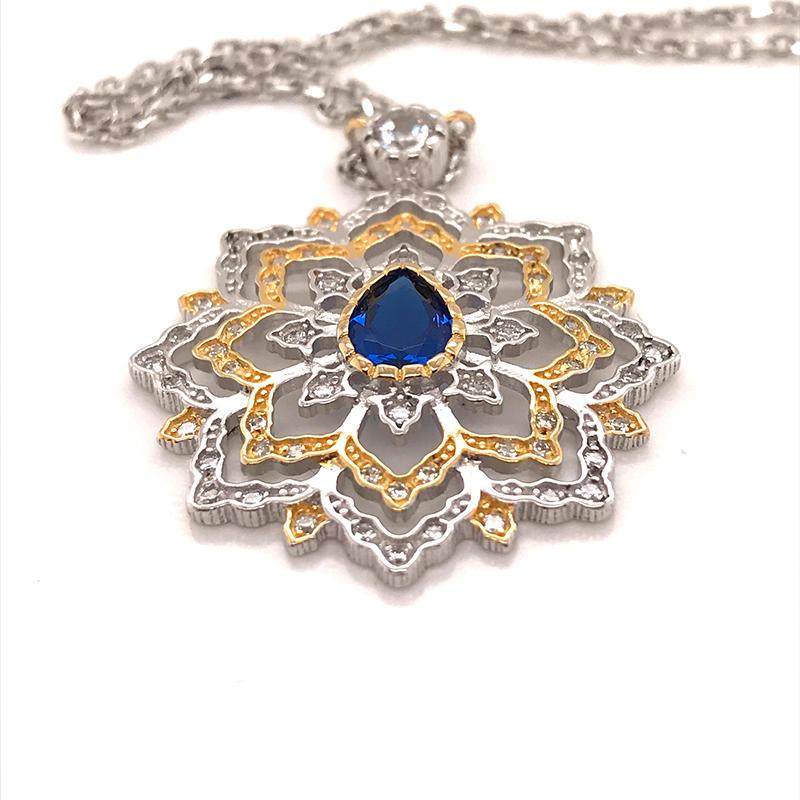 Custom Charm Blue Water Drop Gem Two-Color Plating Flower Pendant Necklace