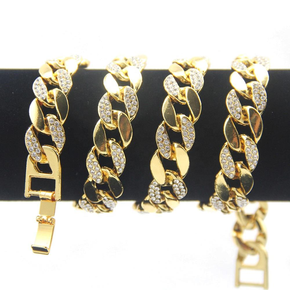 Chunky Cubic Zircon Ice Out Wide Cuban Link Chain Gold Plated Necklace
