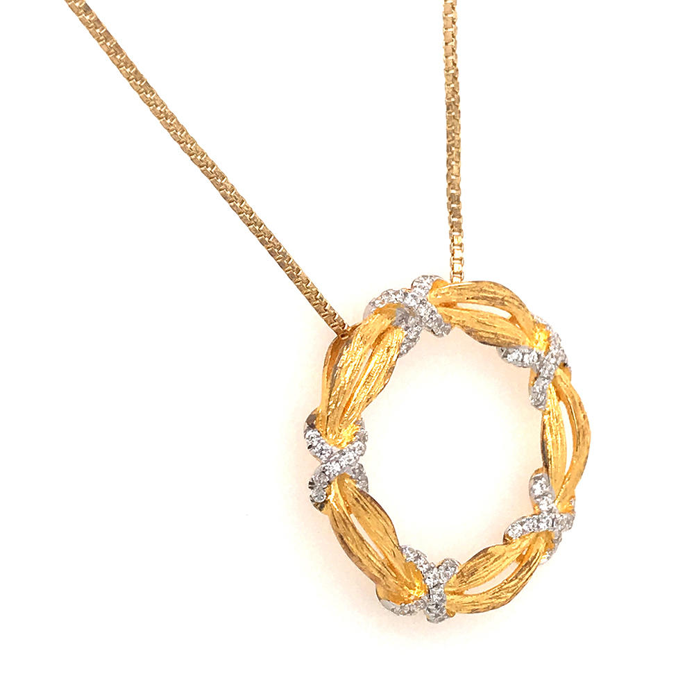 Zircon X Knot Circle Necklace, Custom Gold Wreath Charm Necklace