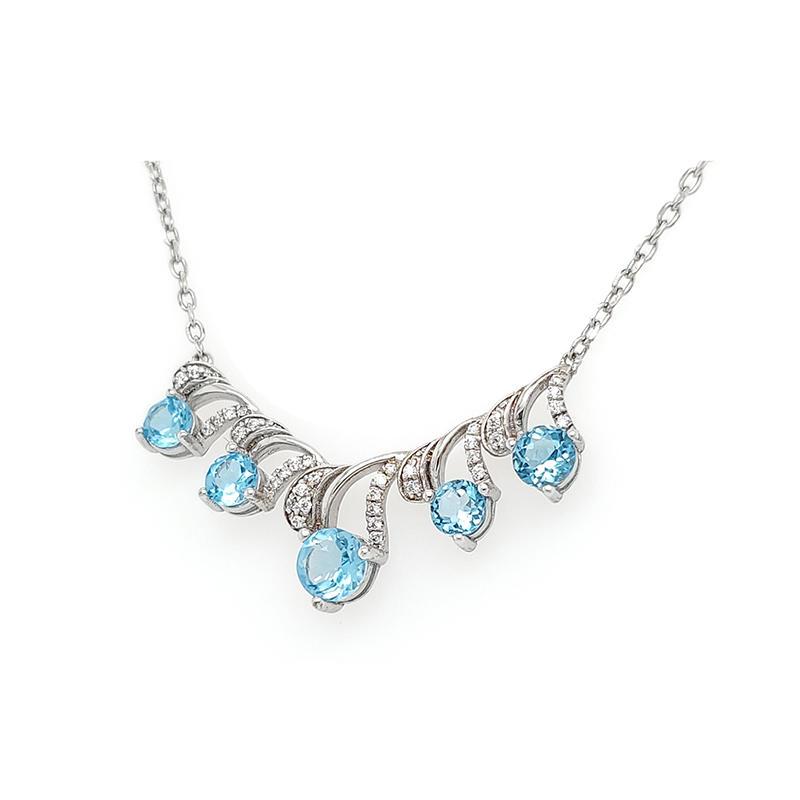 Ocean Topic Sea Spray Shape Blue Zircon Statement Necklace Jewelry Wholesale