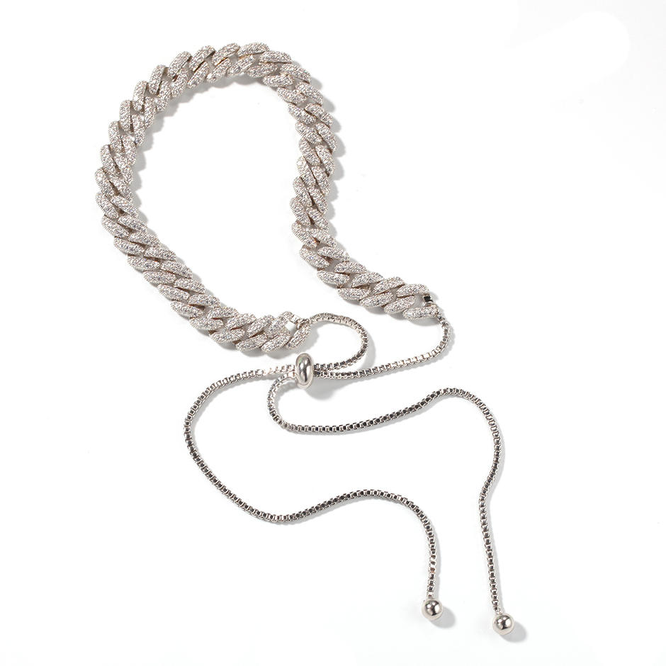 New Adjustable Clavicle Chain Woman, Zircon Cuban Box Chain Exquisite Pull Adjustable Necklace