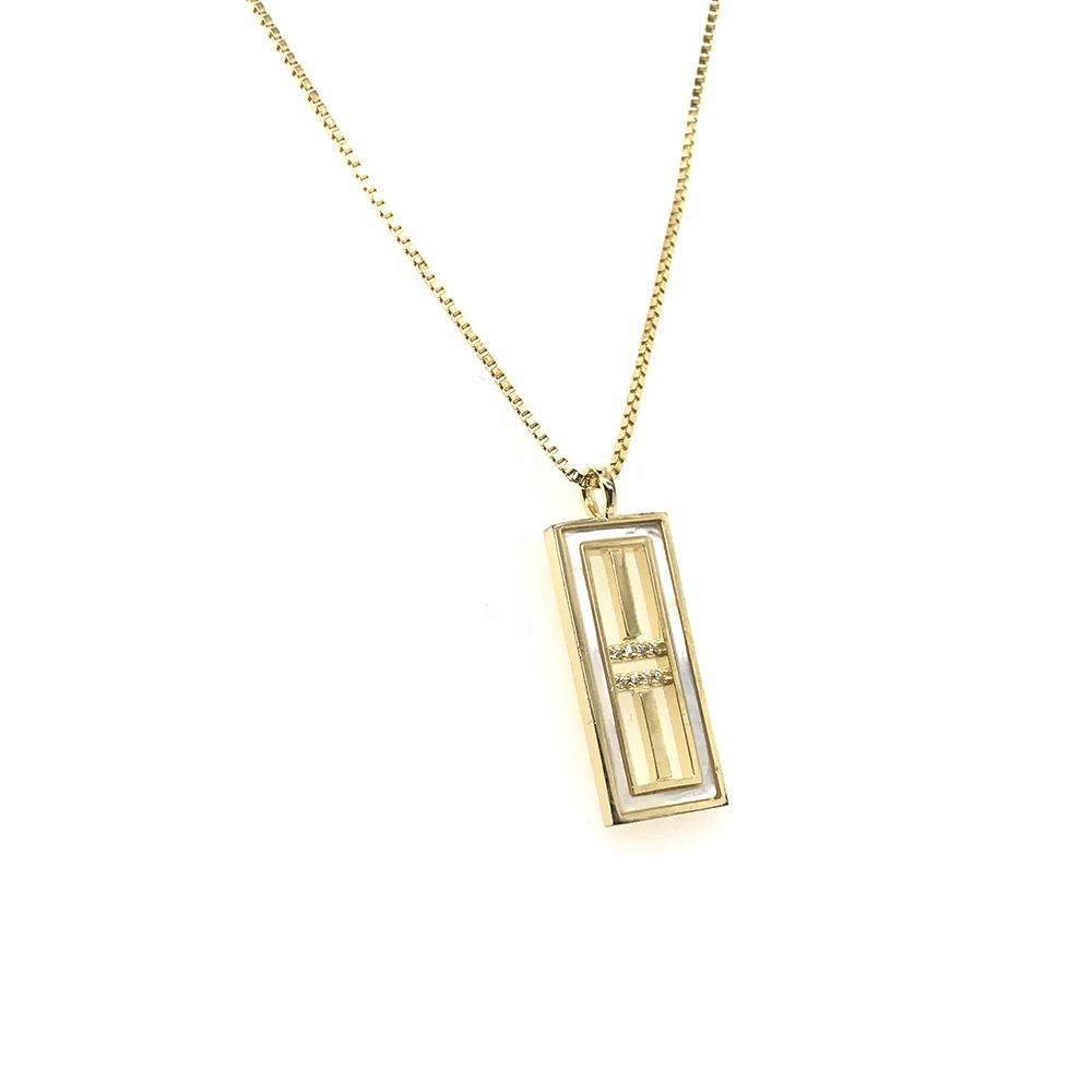 Gold Straight Lines Combination Design Rectangle Geometric Pendant Necklace